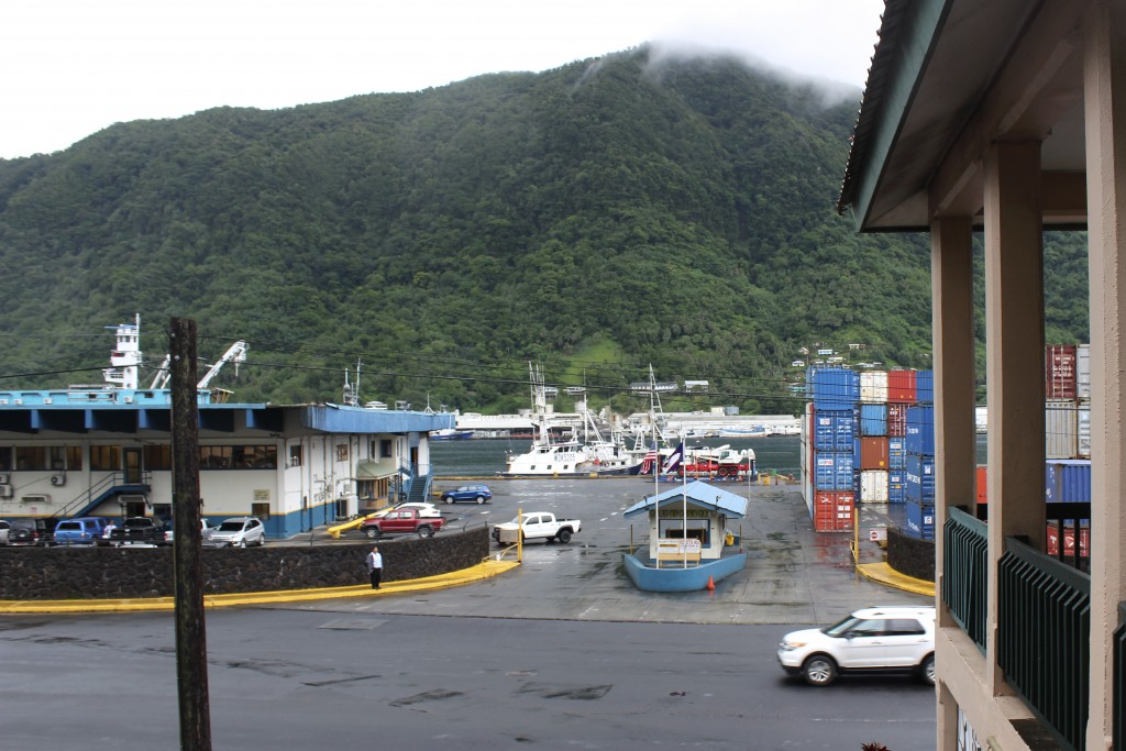 This Wednesday, March 4, 2020, photo shows the entrance to the Port of Pago Pago with main Port Administration building on the left and a U.S. based l...