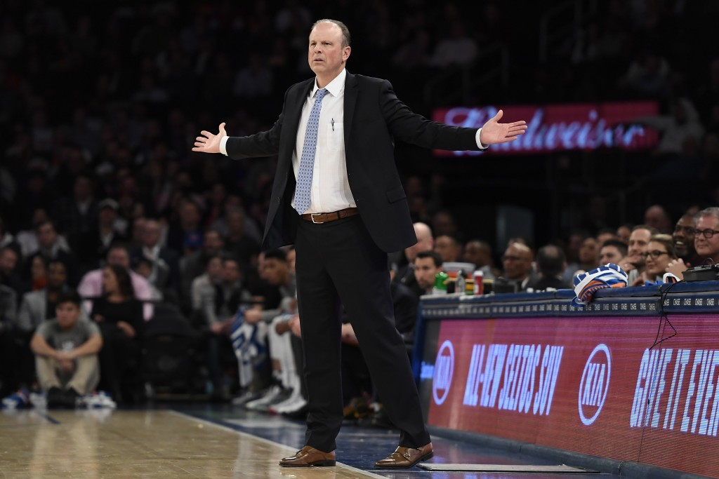 New York Knicks coach Mike Miller reacts during the second half of the team's NBA basketball game against the Utah Jazz in New York, Wednesday, March ...