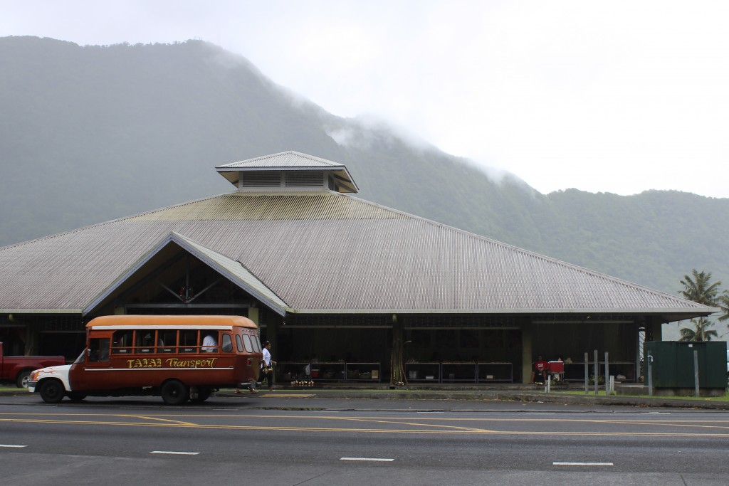 This Wednesday, March 4, 2020, photo shows a mini-bus in front of a public market place in the village of Fagatogo in Pago Pago, American Samoa. Mike ...