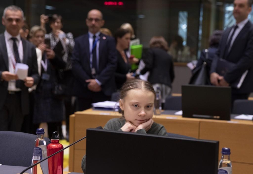 Greta Thunberg於2020年5月至布魯塞爾參與歐洲環境委員會的會議(圖/美聯社)