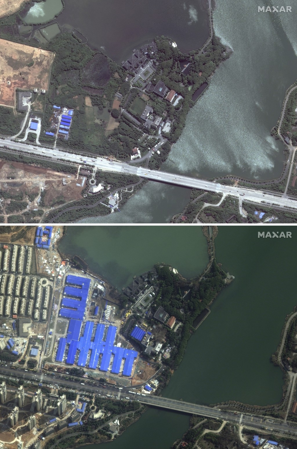 This combination of satellite images provided by Maxar Technologies shows an area in Wuhan in central China's Hubei Province on April 28, 2017, top, a...