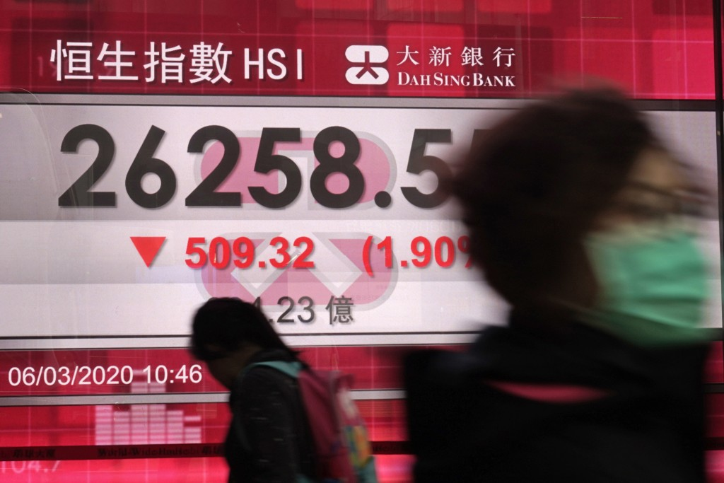 People walk past an electronic board showing Hong Kong share index outside a local bank in Hong Kong, Friday, March 6, 2020. Asian shares are falling ...
