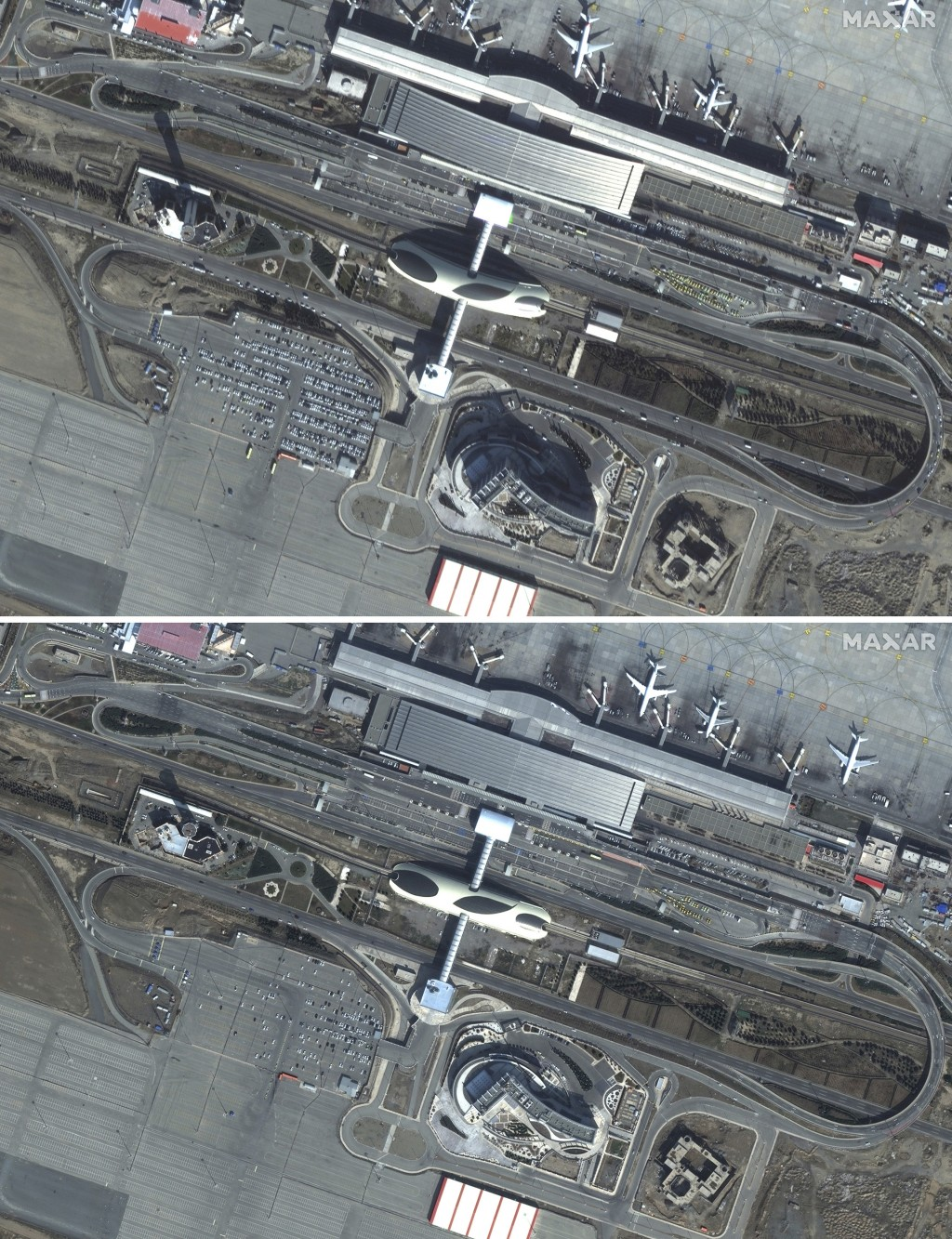 This combination of satellite images provided by Maxar Technologies shows Imam Khomeini International Airport in Tehran, Iran on Jan. 11, 2020, top, a...
