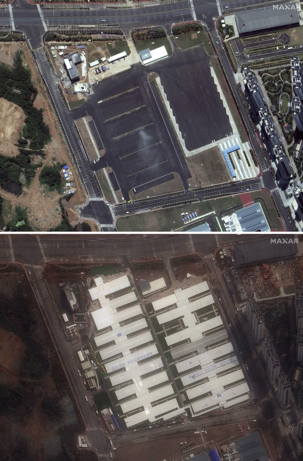 This combination of satellite images provided by Maxar Technologies shows an area in Wuhan in central China's Hubei Province on Aug. 3, 2019, top, and...