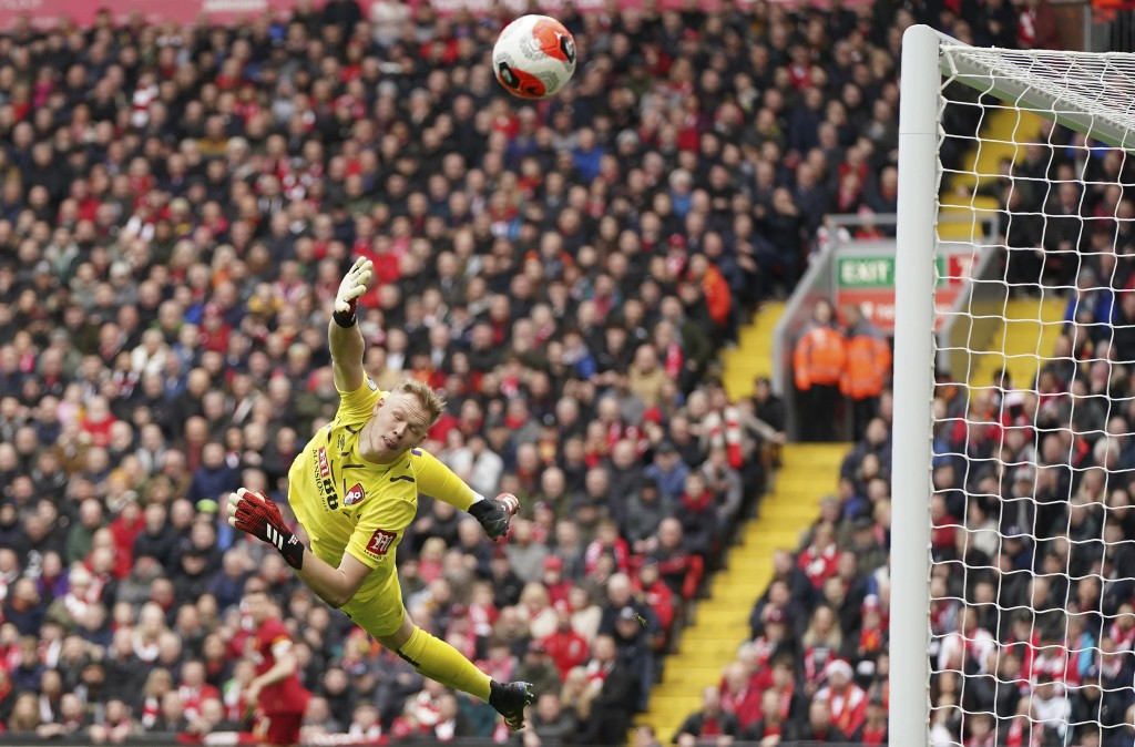 Bournemouth's goalkeeper Aaron Ramsdale saves during the English Premier League soccer match between Liverpool and Bournemouth at Anfield stadium in L...