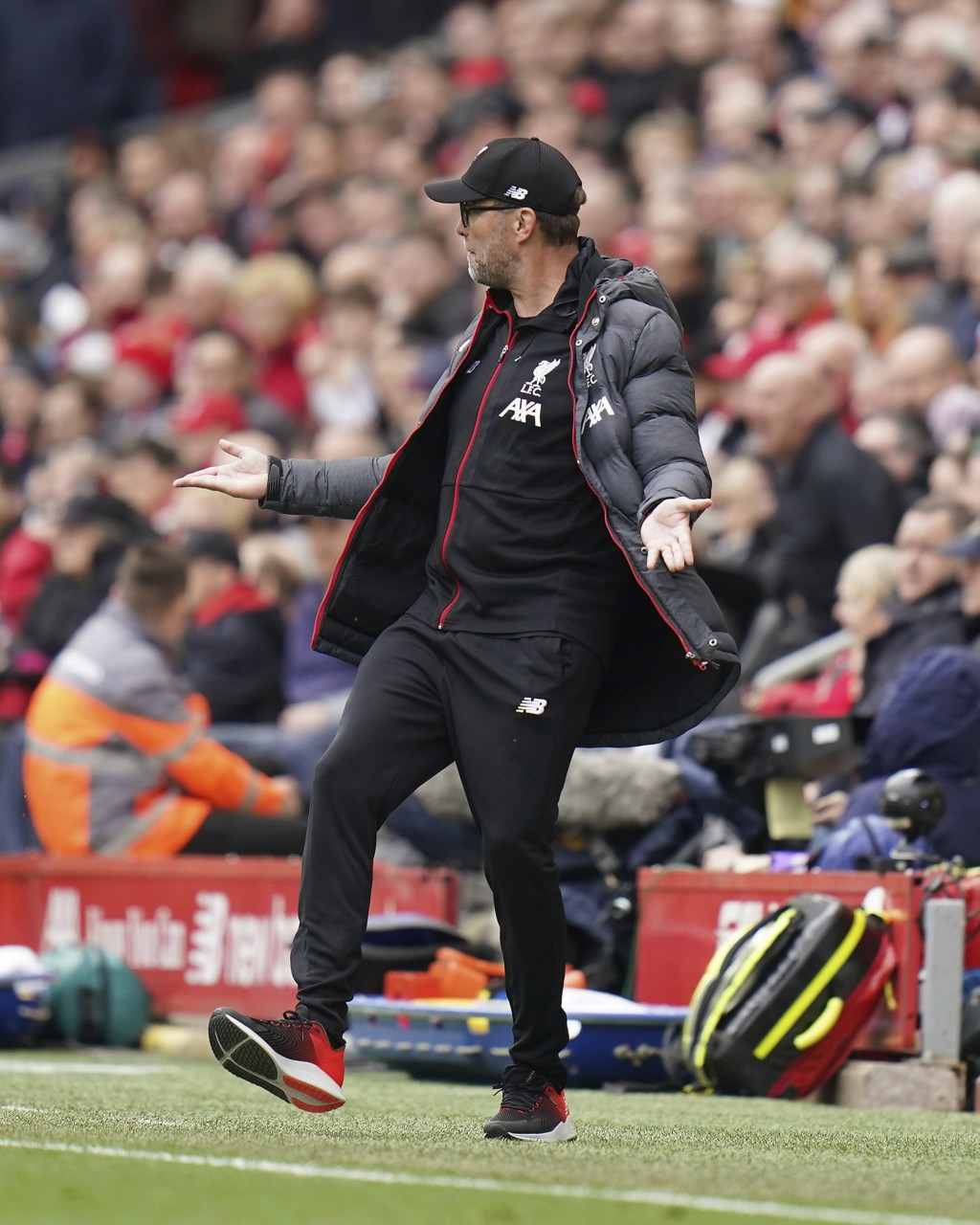 Liverpool's manager Jurgen Klopp reacts after Bournemouth's Callum Wilson scored his side's opening goal during the English Premier League soccer matc...