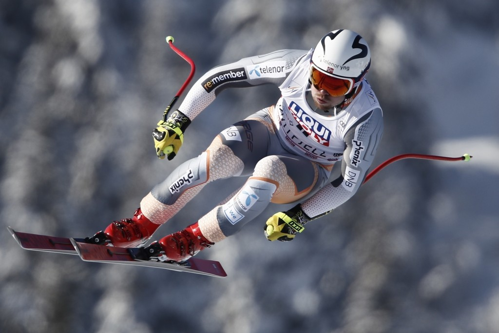 Norway's Aleksander Aamodt Kilde takes a jump as he speeds down the course during an alpine ski, men's World Cup downhill, in Kvitfjell, Norway, Satur...