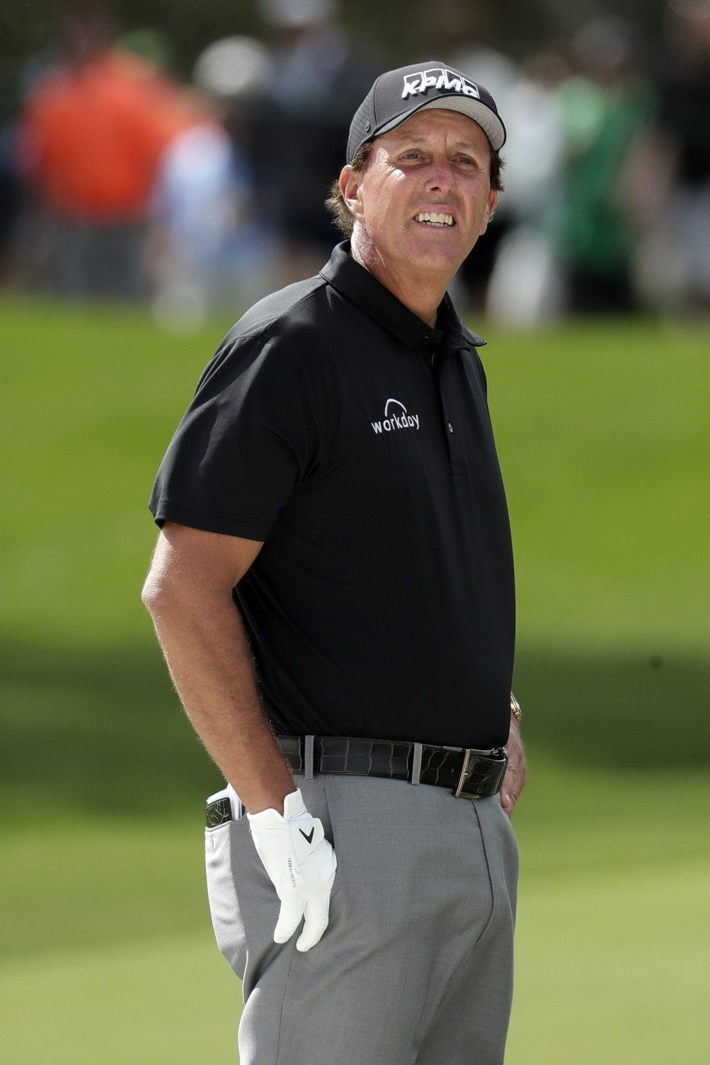 Phil Mickelson looks down the first fairway during the second round of the Arnold Palmer Invitational golf tournament Friday, March 6, 2020, in Orland...