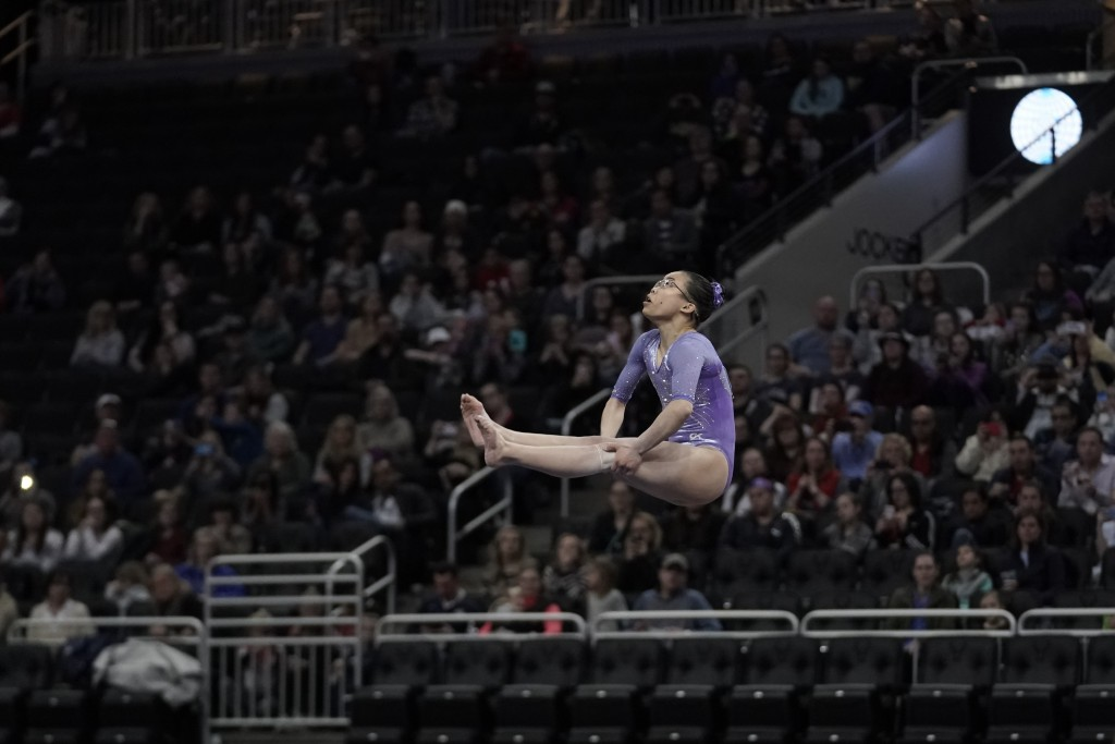 Morgan Hurd of the United States performs on the floor during the America Cup gymnastics competition Saturday, March 7, 2020, in Milwaukee. (AP Photo/...