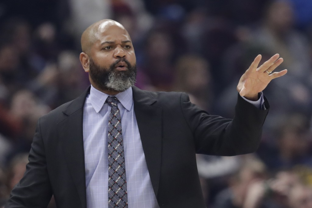 FILE - In this March 2, 2020 file photo, Cleveland Cavaliers head coach J.B. Bickerstaff gives instructions to players in the first half of an NBA bas...
