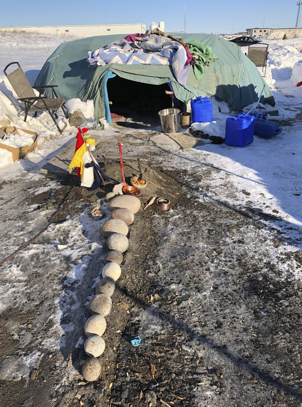 A Native American sweat lodge located on city property in an industrial area of south Fargo, N.D., is pictured on Thursday, Feb. 27, 2020. The lodge w...