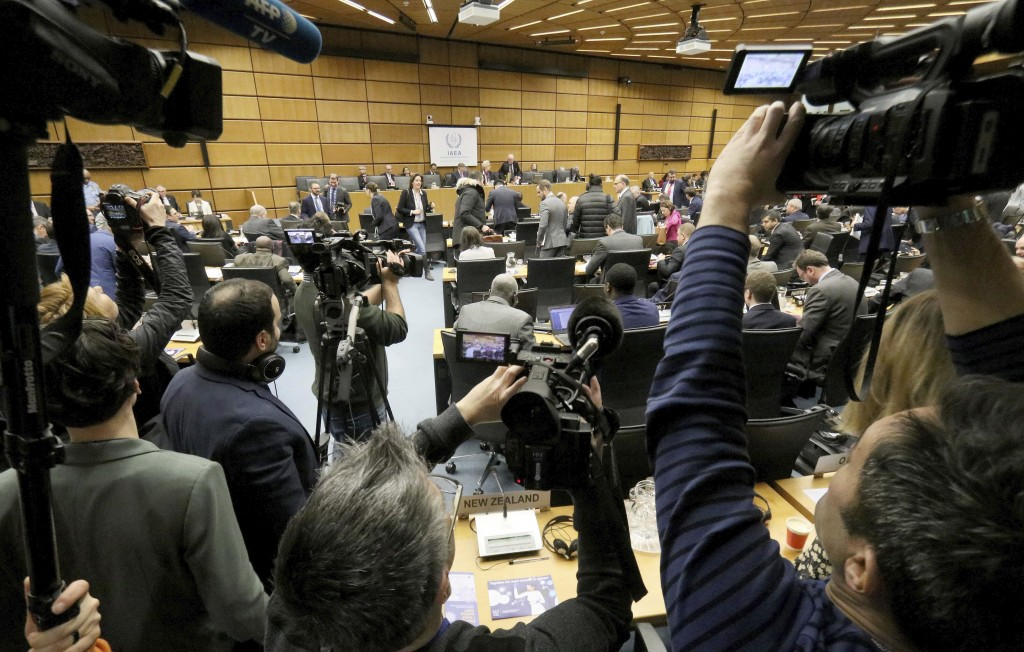 General view of the board of governors meeting of the International Atomic Energy Agency, IAEA, at the International Center in Vienna, Austria, Monday...