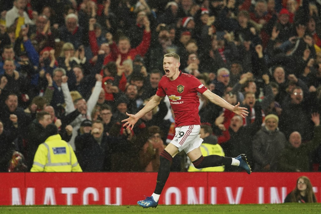 Manchester United's Scott McTominay celebrates after scoring his side's second goal during the English Premier League soccer match between Manchester ...