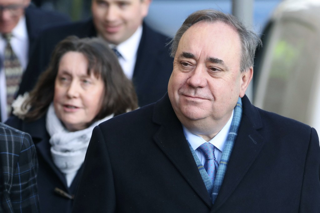 Former Scottish first minister Alex Salmond arrives at the High Court for the first day of his trial, in Edinburgh, Scotland, Monday, March 9, 2020. S...