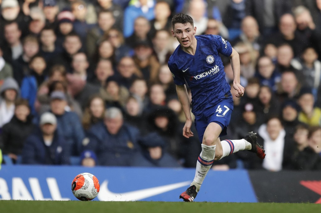 Chelsea's Billy Gilmour controls the ball during the English Premier League soccer match between Chelsea and Everton at Stamford Bridge stadium in Lon...