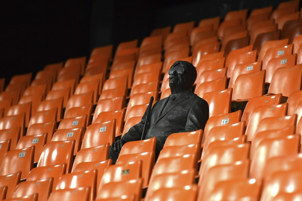 A statue representing a former fan is pictured ahead of the Champions League round of 16 second leg soccer match between Valencia and Atalanta in Vale...