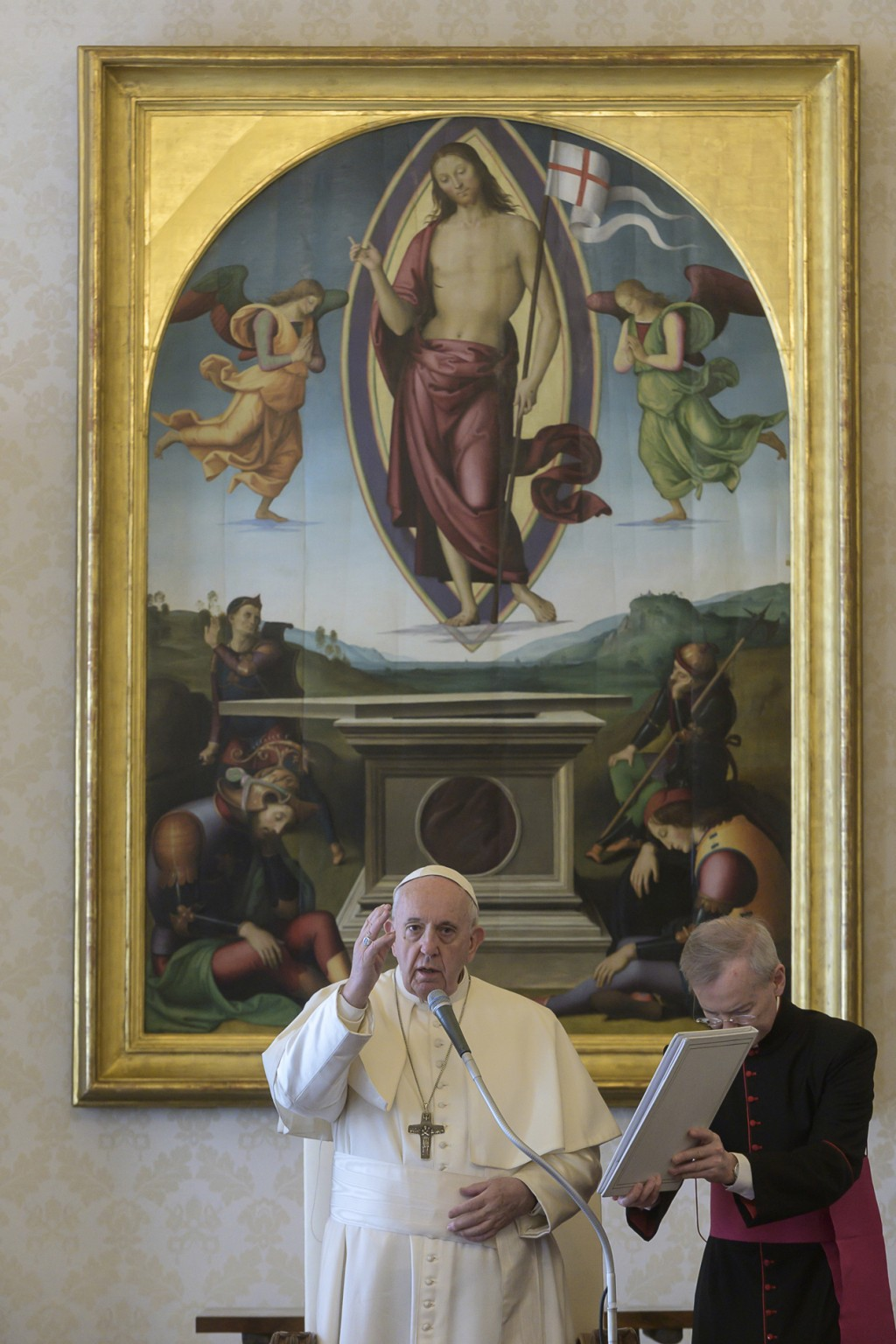 Pope Francis delivers his blessing as he holds his general audience at the Vatican, Wednesday, March 11, 2020.  Pope Francis held his weekly general a...