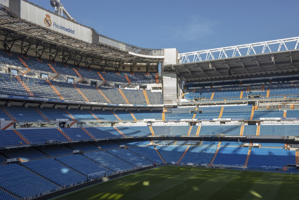 General view of the Santiago Bernabeu stadium in Madrid, Spain, Tuesday, March 10, 2020. All upcoming professional soccer games in Spain, France and P...