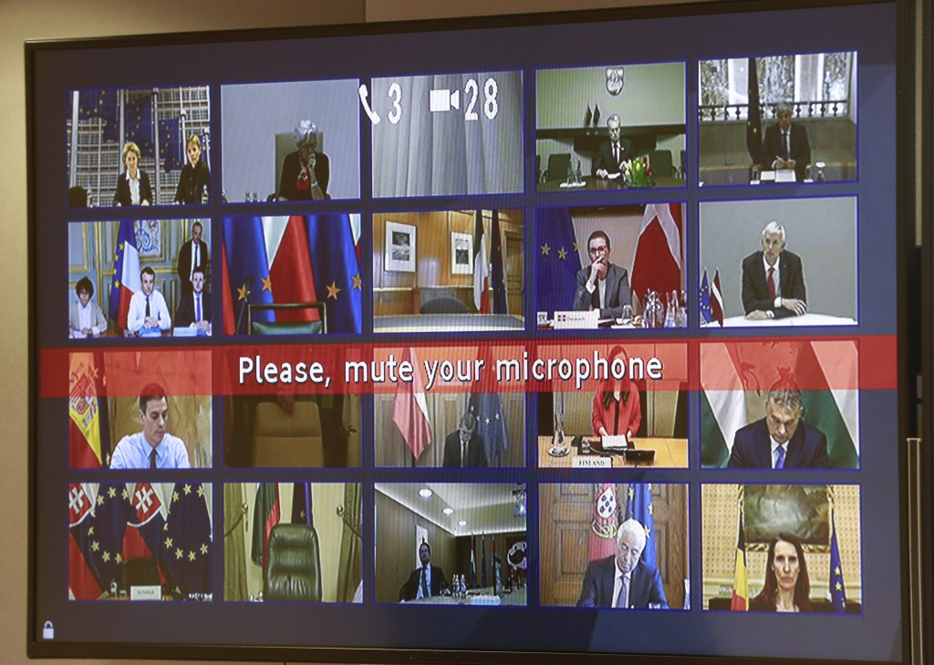 European Union leaders participate in a videoconference call with European Council President Charles Michel at the European Council building in Brusse...