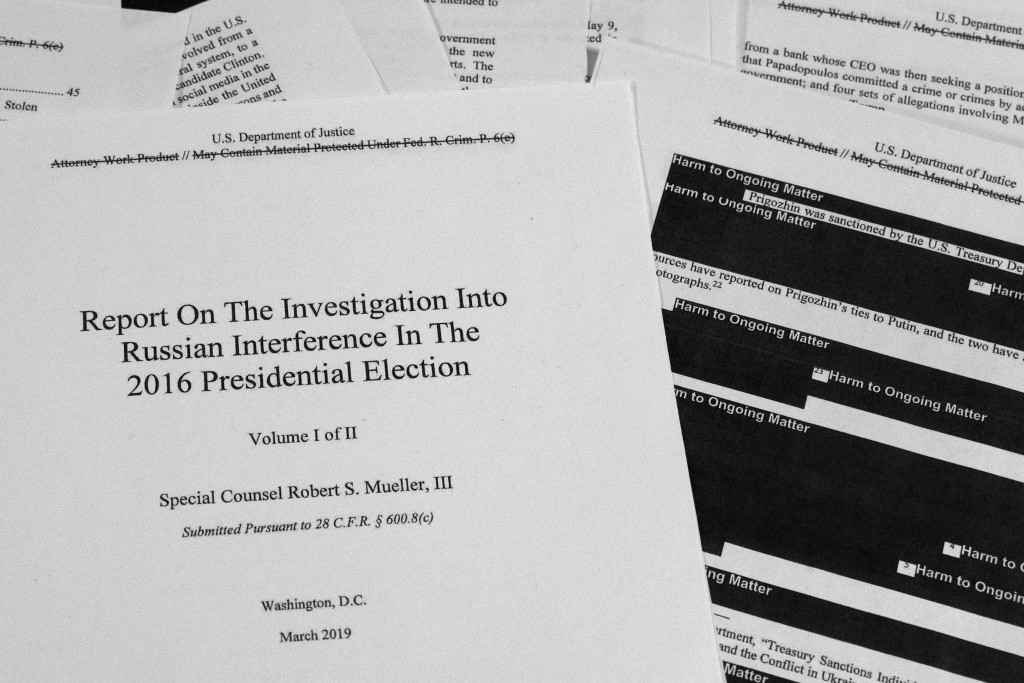 FILE - In this April 18, 2019, file photo, special counsel Robert Mueller's redacted report on Russian interference in the 2016 presidential election ...