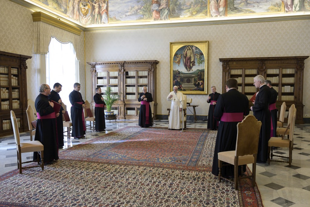 Pope Francis holds his general audience at the Vatican, Wednesday, March 11, 2020.  Pope Francis held his weekly general audience in the privacy of hi...