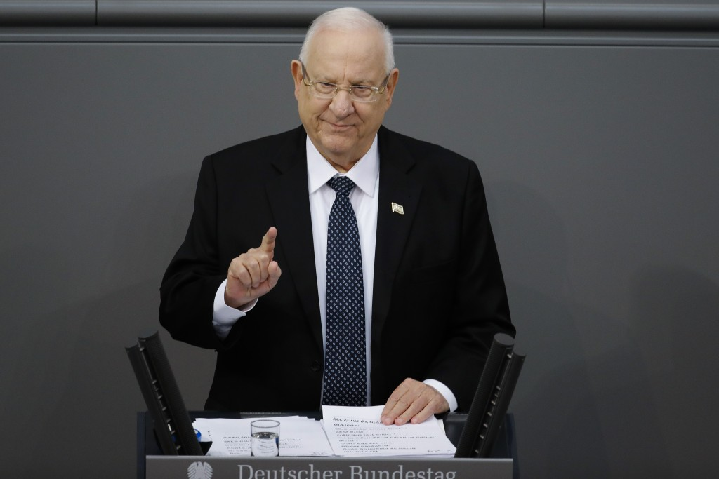 FILE - In this Jan. 29, 2020 file photo, Israel's President Reuven Rivlin delivers a speech during a special meeting of the German Parliament Bundesta...