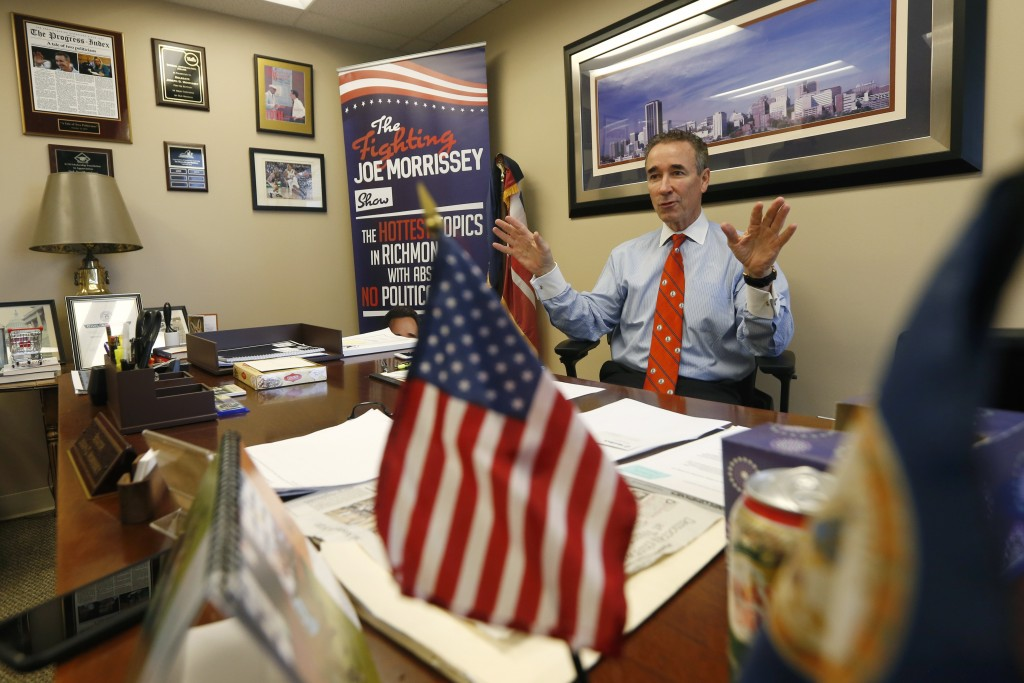 In this Thursday, March 5, 2020 photo, Virginia State Sen. Joe Morrissey, D-Richmond, gestures during an interview in his office at the Capitol in Ric...