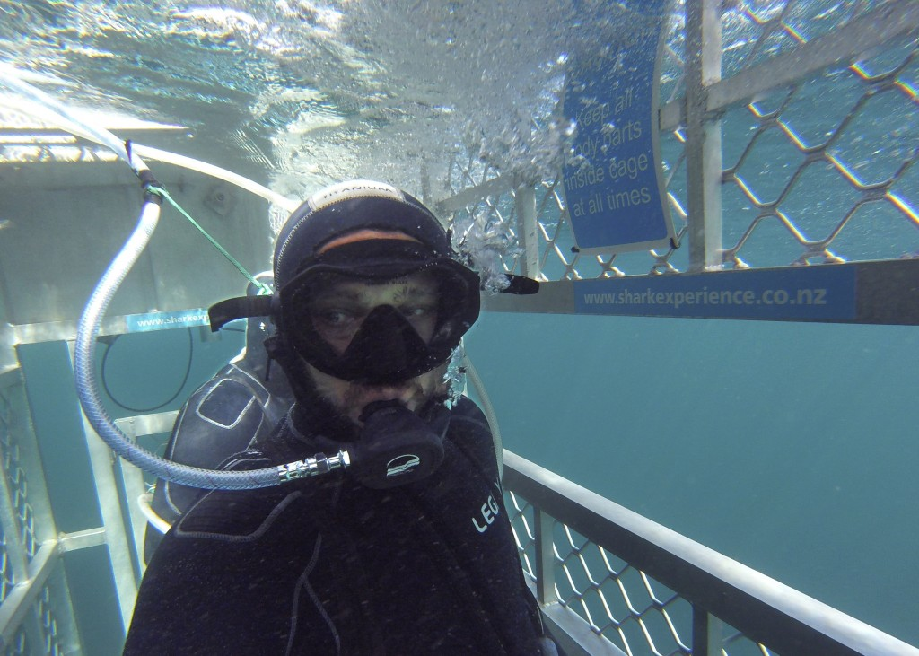 In this Jan 14, 2020, photo, Al Noor mosque shooting survivor waits in a shark cage to see great white sharks off the coast of Bluff in southern New Z...
