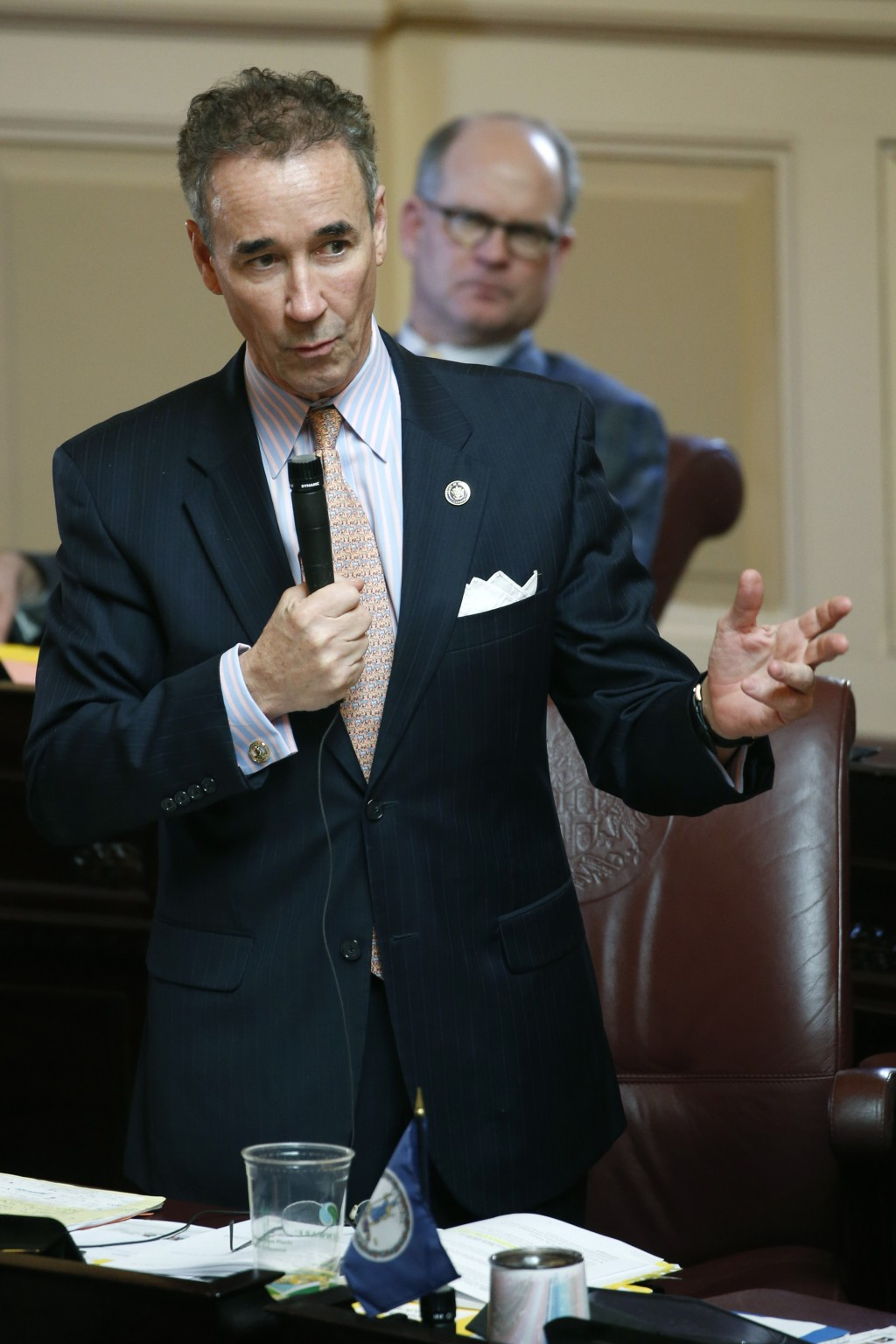 In this Wednesday, March 4, 2020 photo, State Sen. Joe Morrissey, D-Richmond, gestures during the Senate session at the Capitol in Richmond, Va.  Morr...