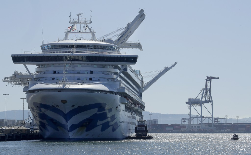 The Grand Princess cruise ship is shown docked at the Port of Oakland Thursday, March 12, 2020, in Oakland, Calif. California Gov. Gavin Newsom says n...