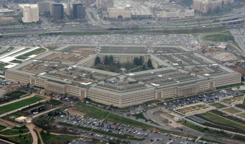 FILE - This March 27, 2008, aerial file photo, shows the Pentagon in Washington.  The Pentagon is reconsidering its awarding of a major cloud computin...