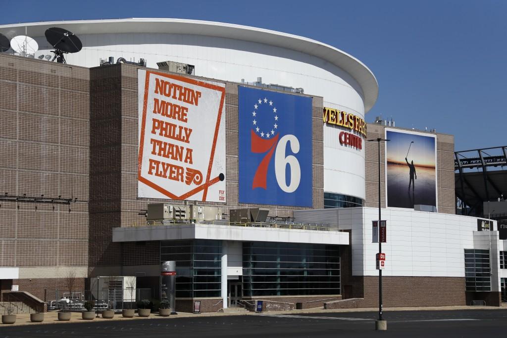 The Wells Fargo Center, home of the Philadelphia Flyers NHL hockey team and the Philadelphia 76ers NBA basketball team, is seen nearly empty, Saturday...