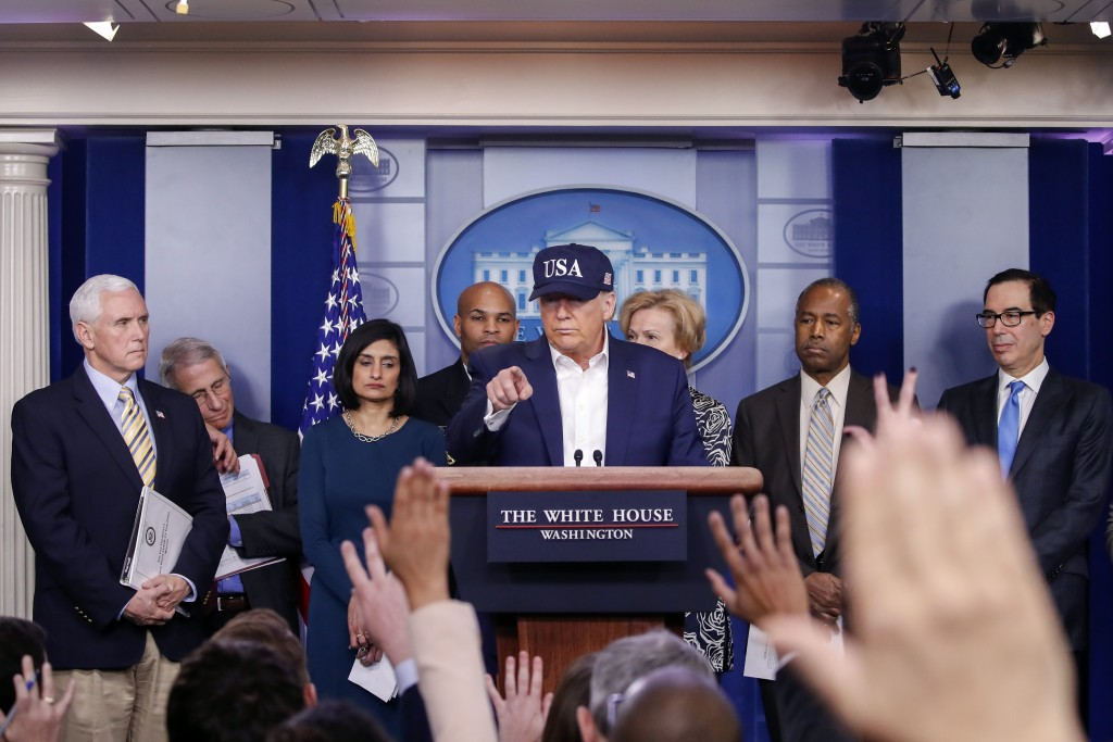 President Donald Trump speaks during briefing on coronavirus in the Brady press briefing room at the White House, Saturday, March 14, 2020, in Washing...