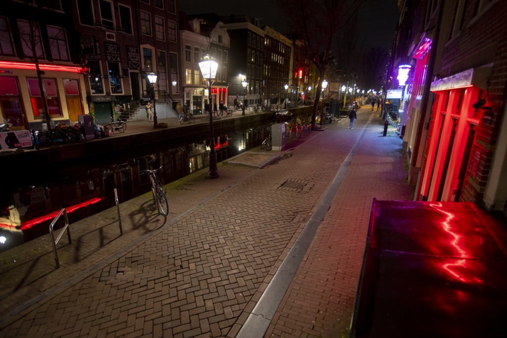 View of the near-empty Red Light District in Amsterdam, Netherlands, Sunday, March 15, 2020, after a TV address of health minister Bruno Bruins who or...
