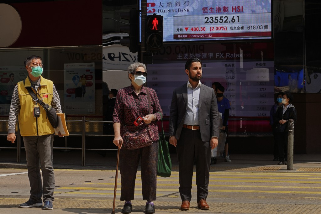 People wear face masks at a down town street in Hong Kong Monday, March 16, 2020. For most, the coronavirus causes only mild or moderate symptoms, suc...