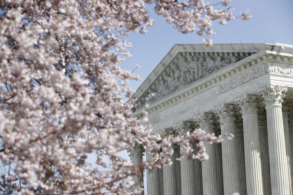 In this March 16, 2020 photo, a tree blooms outside the Supreme Court in Washington, Monday, March 16, 2020.  (AP Photo/Patrick Semansky)