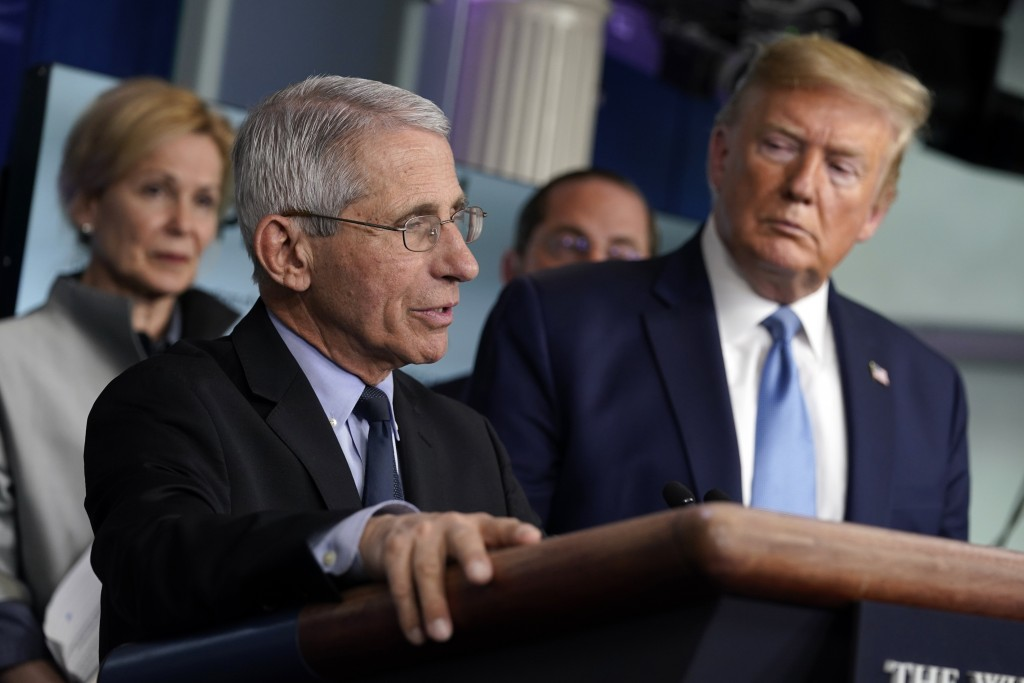 Dr. Anthony Fauci, director of the National Institute of Allergy and Infectious Diseases, speaks as Dr. Deborah Birx, White House coronavirus response...
