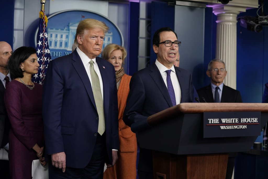 Treasury Secretary Steven Mnuchin speaks during a press briefing with the coronavirus task force, at the White House, Tuesday, March 17, 2020, in Wash...