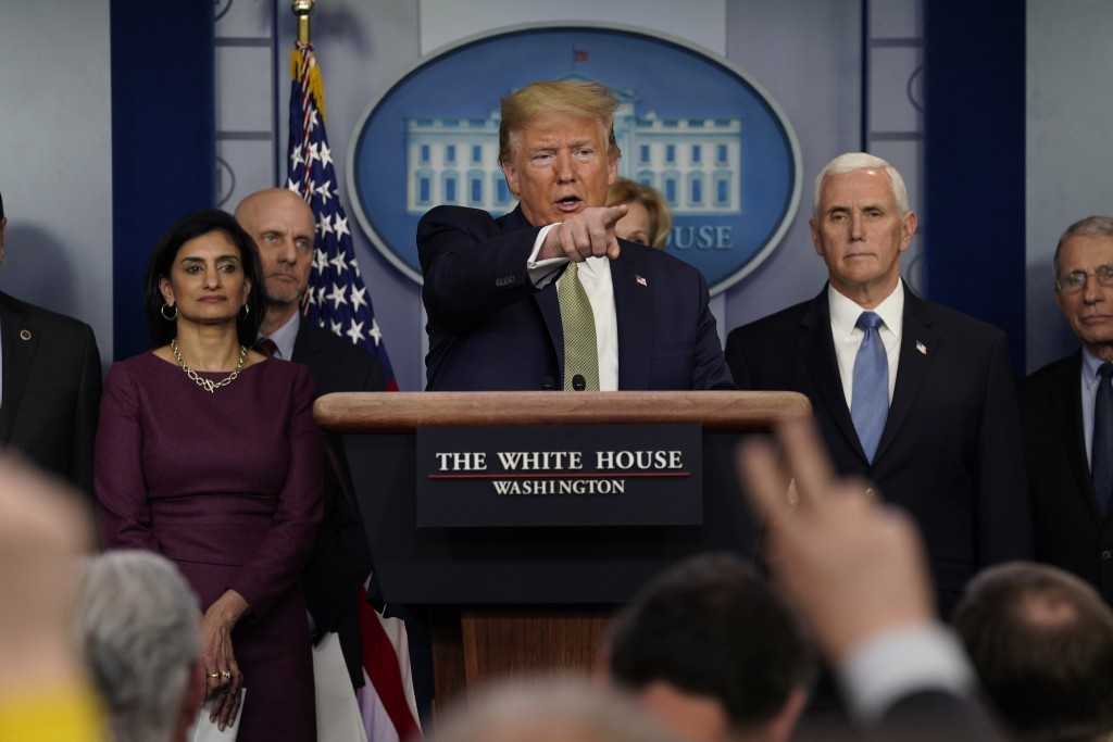 President Donald Trump speaks during a press briefing with the coronavirus task force, at the White House, Tuesday, March 17, 2020, in Washington. (AP...