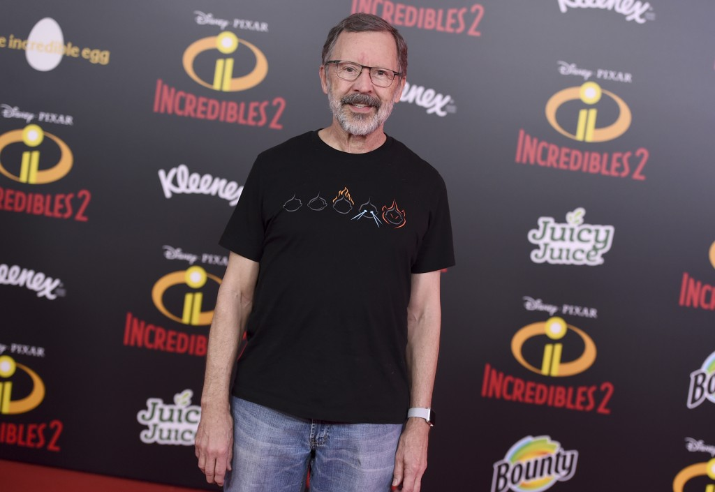 """FILE - In this June 5, 2018 file photo, Pixar President Edwin Catmull arrives at the world premiere of """"Incredibles 2"""" at the El Capitan Theatre in Lo..."""