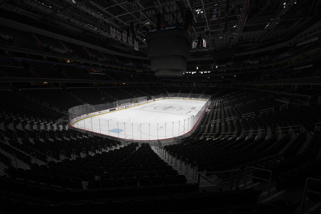 FILE - In this March 12, 2020, file photo, the Capital One Arena, home of the Washington Capitals NHL hockey club, sits empty in Washington. The Ottaw...