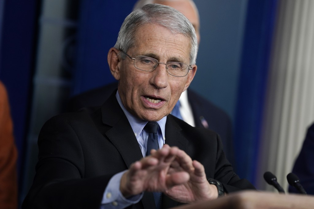 Dr. Anthony Fauci, director of the National Institute of Allergy and Infectious Diseases, speak during a press briefing with the coronavirus task forc...