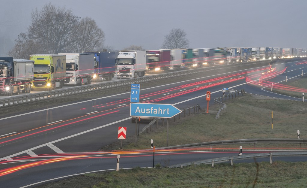 Trucks are jammed in the early morning on Autobahn 12 in front of the German-Polish border crossing near Frankfurt (Oder), Germany, Wednesday, March 1...