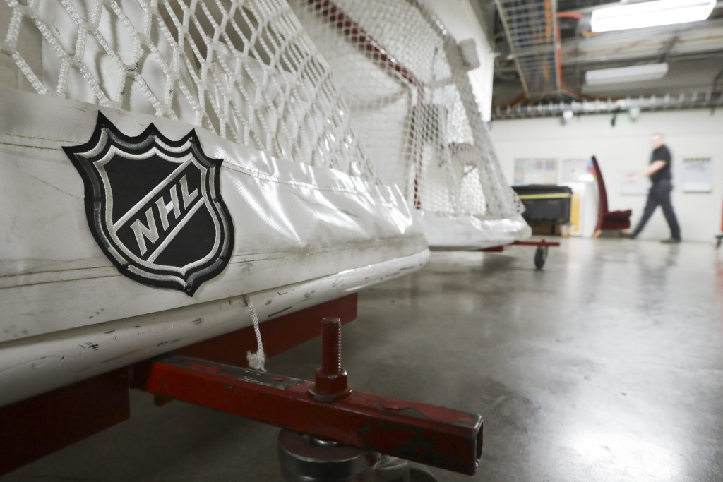 FILE - In this March 12, 2020, file photo, goals used by the NHL hockey club Nashville Predators are stored in a hallway in Bridgestone Arena in Nashv...