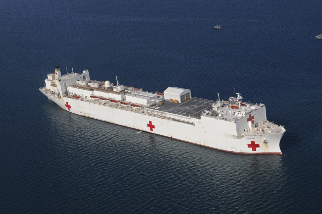 In this Jan. 20, 2010 file photo, the Military Sealift Command hospital ship USNS Comfort is anchored off the coast of Haiti  to support Operation Uni...