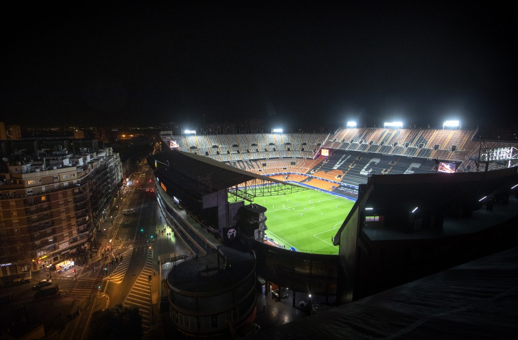 General view of Mestalla stadium during the Champions League round of 16 second leg soccer match between Valencia and Atalanta in Valencia, Spain, Mar...