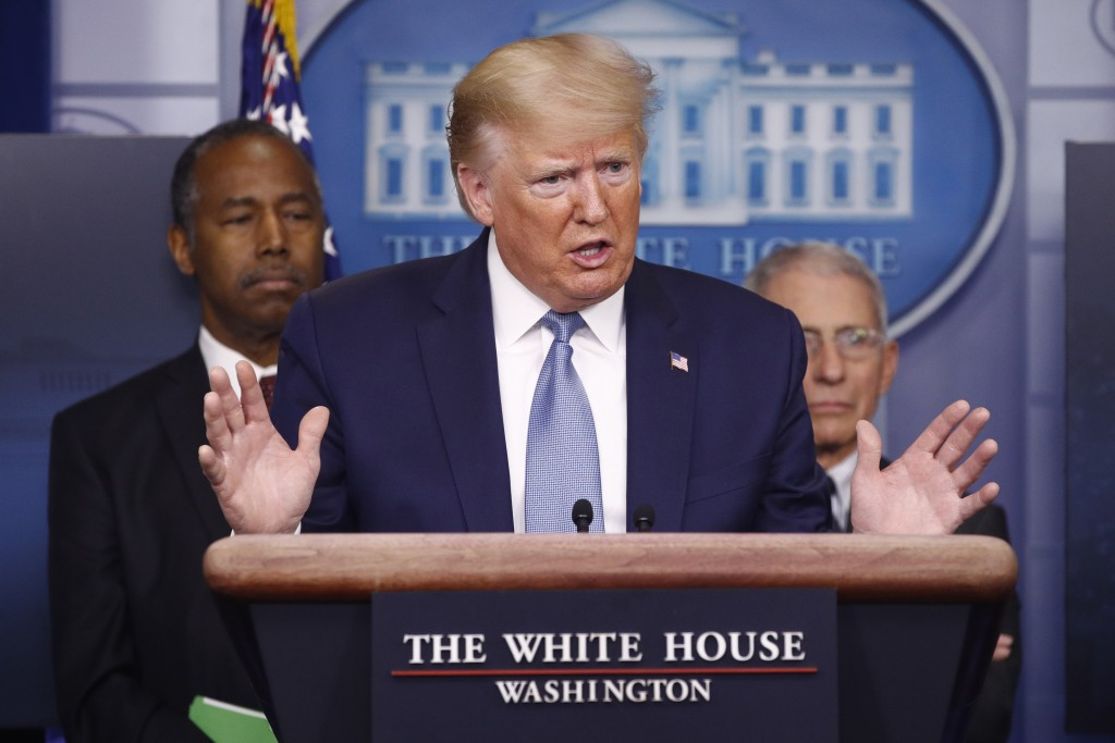 President Donald Trump speaks during a coronavirus task force briefing at the White House, Saturday, March 21, 2020, in Washington.Housing and Urban D...