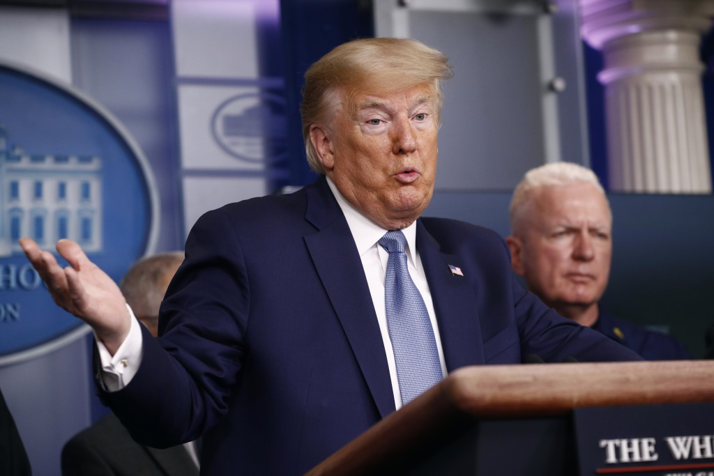 President Donald Trump speaks during a coronavirus task force briefing at the White House, Saturday, March 21, 2020, in Washington. (AP Photo/Patrick ...