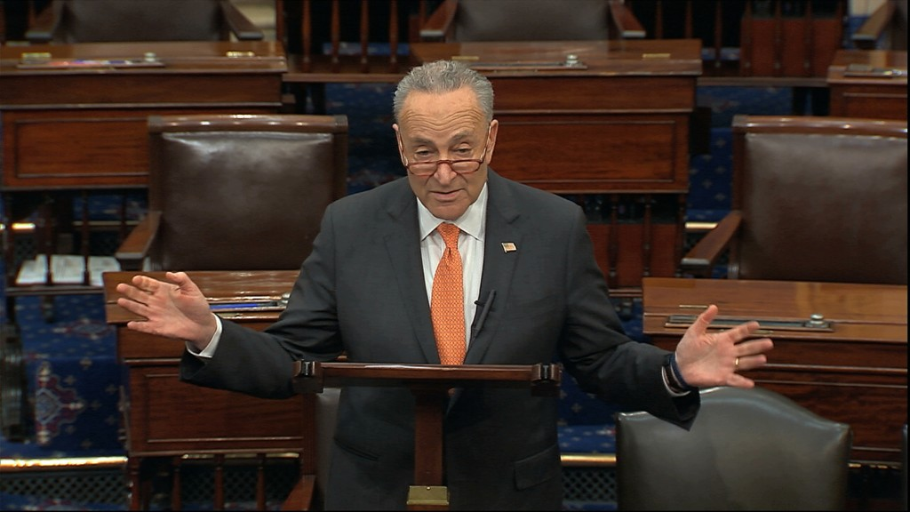In this image from video, Senate Minority Leader Chuck Schumer, D-N.Y., speaks on the Senate floor at the U.S. Capitol in Washington, Saturday, March ...
