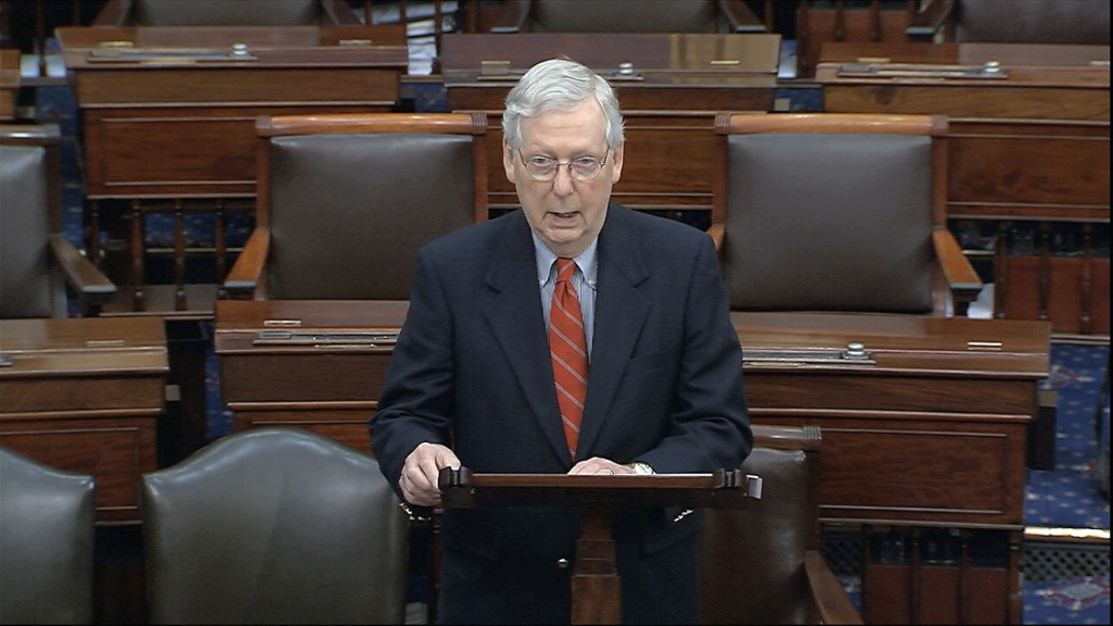 In this image from video, Senate Majority Leader Mitch McConnell, R-Ky., speaks on the Senate floor at the U.S. Capitol in Washington, Saturday, March...